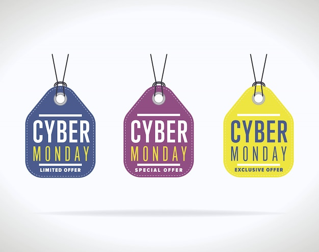 Cyber monday sale sticker collection isolated