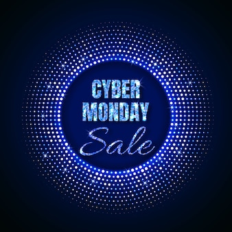 Cyber monday sale technology background in neon style