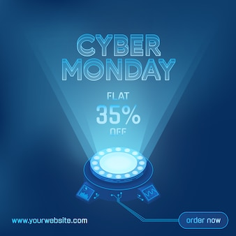 Cyber monday sale technology background template