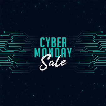Cyber monday sale in technology style banner