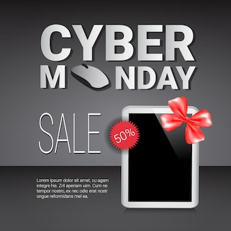Cyber monday sale template banner discounts on modern digital tablets
