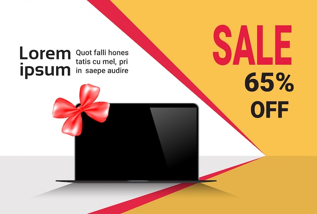 Cyber monday sale template banner discounts on modern laptop computers