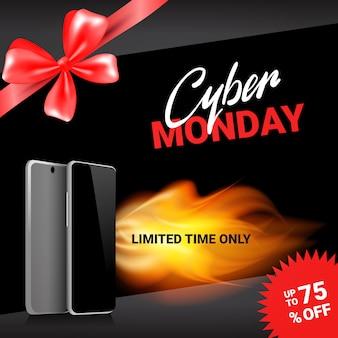 Cyber monday sale template banner discounts on modern smart phones design