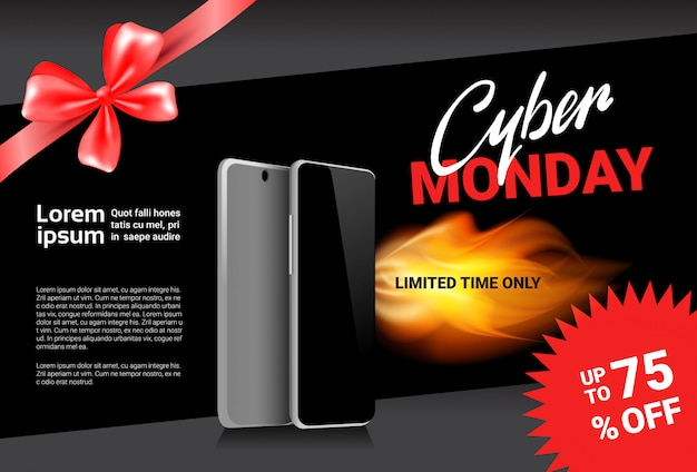 Cyber monday sale template banner discounts on modern smart phones design