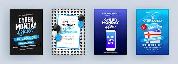 Cyber monday sale template или flyer design с различными скидками в четырехцветном варианте.