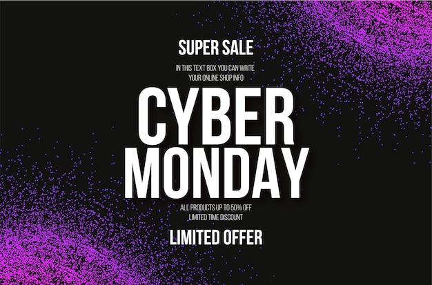 Cyber monday sale with abstract colorful particles background