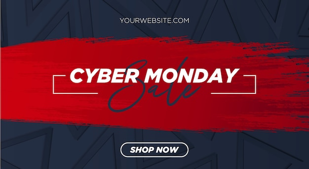 Cyber monday sale with red brush stroke and 3d background with geometric shapes
