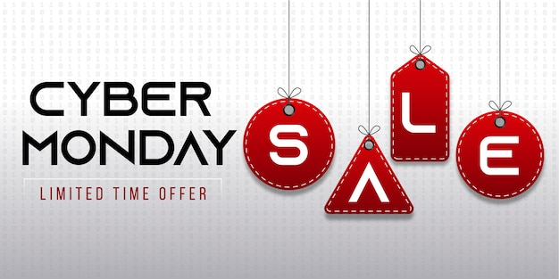 Cyber monday sale with red tags background