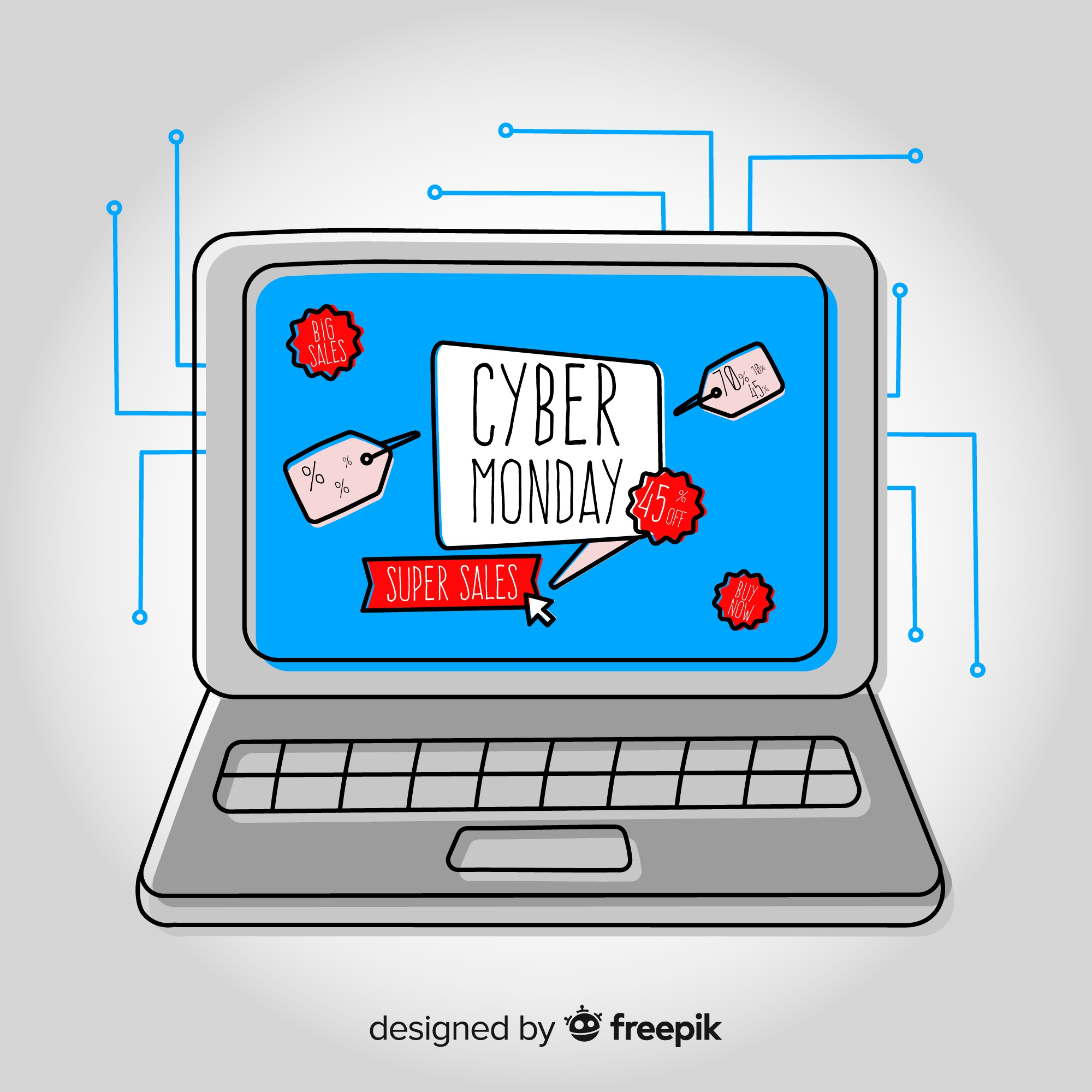 Cyber monday sales background with computer