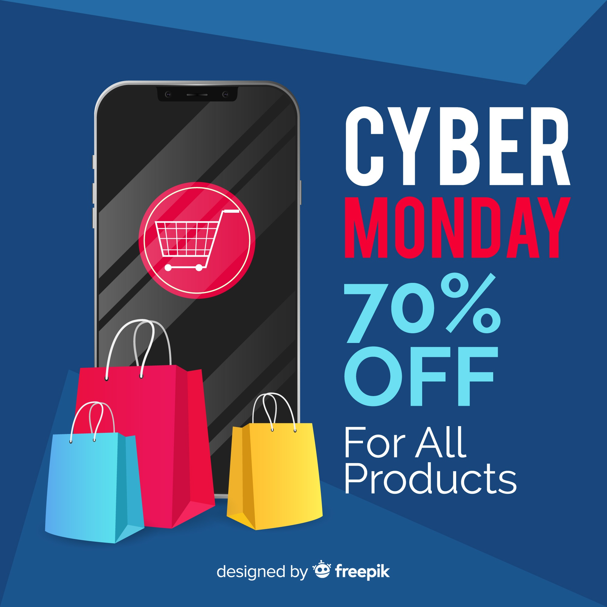 Cyber monday sales background with smartphone