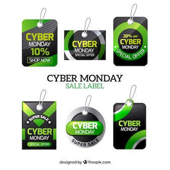 Cyber monday sales stickers set