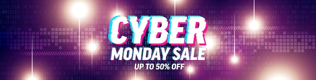 Cyber monday salespecial offer poster with binary code and  futuristic abstract background