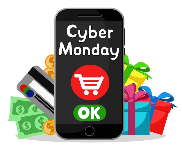 Cyber monday, shopping online via smartphone on a white background.