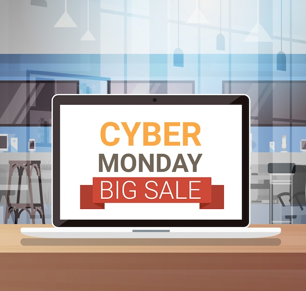 Cyber monday sign on laptop monitor big sale banner design