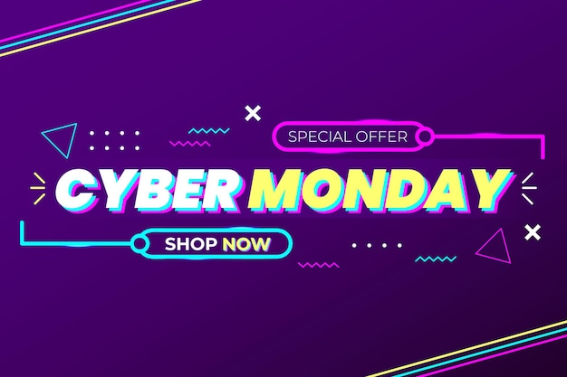 Cyber monday special offer with abstract shape and lighting lines dark purple gradient vector design modern style