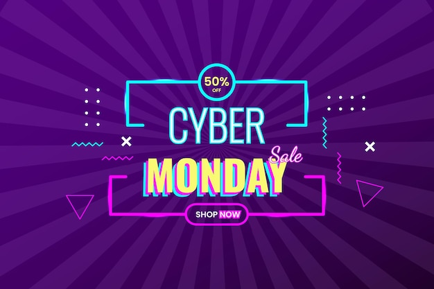 Cyber monday special offer with abstract shape and retro background lighting lines dark purple gradient vector design modern style