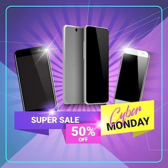 Cyber monday super sale banner discounts on modern smart phones design