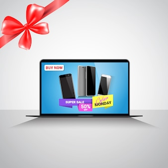 Cyber monday super sale banner with message about discounts on modern smart phones on laptop monitor