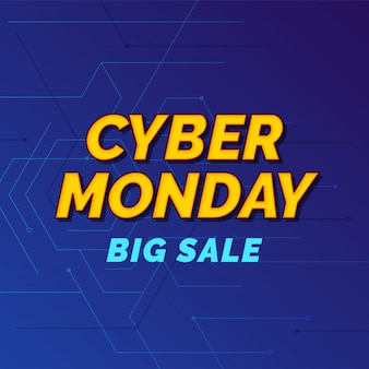 Cyber monday super sale poster  social media template creative trendy typography on cyberspace   banner .