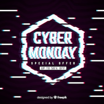 Cyber monday text in distorted glitch style