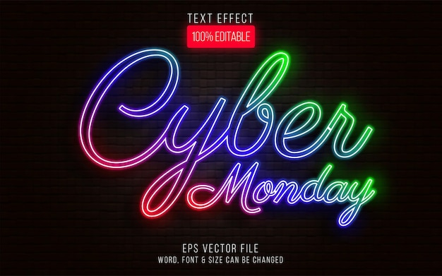 Cyber monday text effect neon style editable text effect
