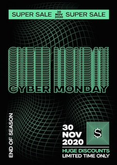 Cyber monday typography banner poster or flayer template creative fading grid background concept ret...