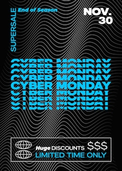 Cyber monday typography banner poster or flayer template