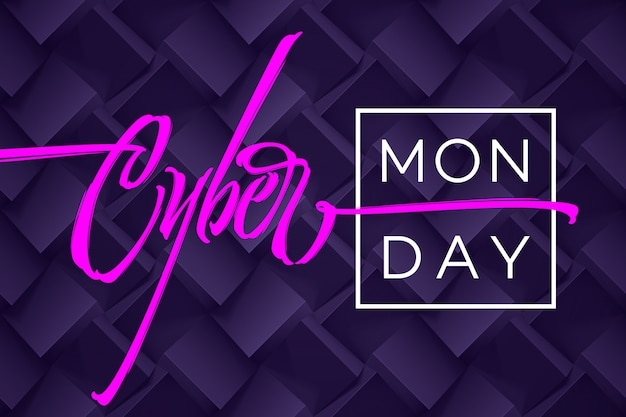Cyber monday typography on dark purple geometry background.  illustration for banners, ads, booklets, leaflets, brochures, posters.  illustration.