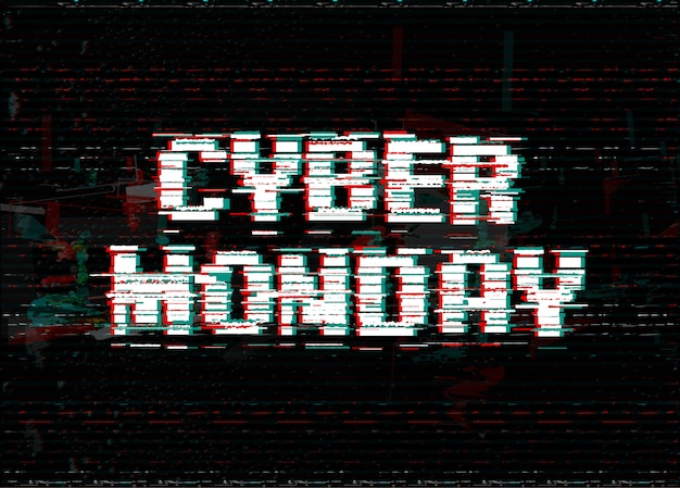 Cyber monday typography design. glitch effect text.