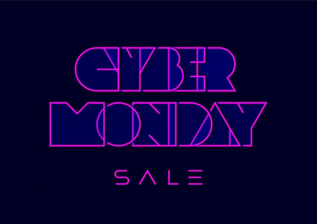 Cyber monday typography in retro futurism style on dark blue background