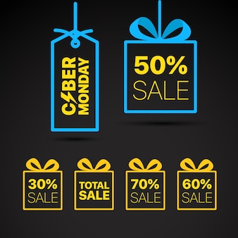The cyber monday vector label. discound label vector illustration