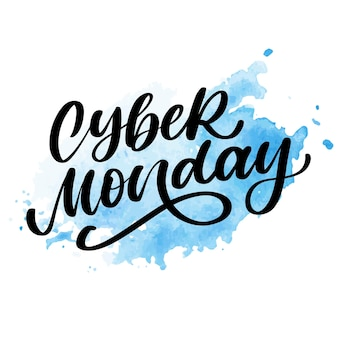 Cyber monday vector lettering calligraphy text brush