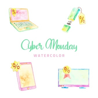 Cyber monday watercolor