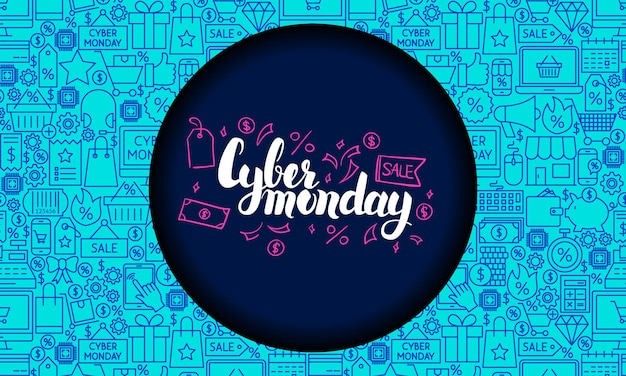 Cyber monday web banner. vector illustration for sale promotion.
