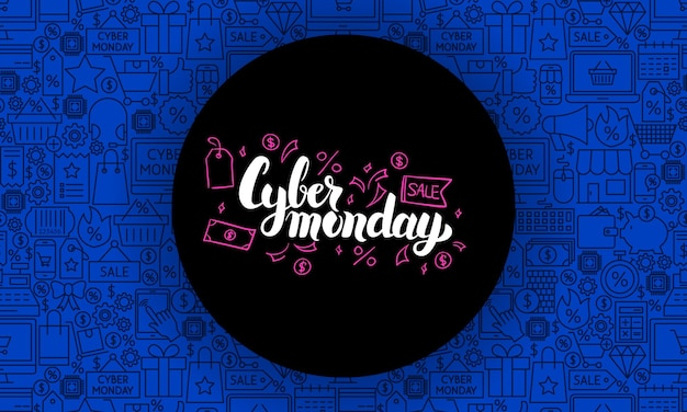 Cyber monday website banner. vector illustration for sale promotion.