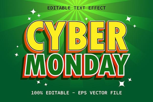 현대적인 스타일의 편집 가능한 텍스트 효과가 있는 사이버 먼데이