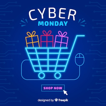 Cyber monday with neon basket light