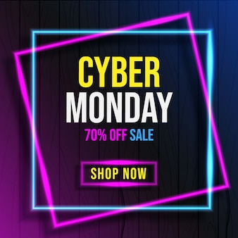 Cyber monday with neon light banner