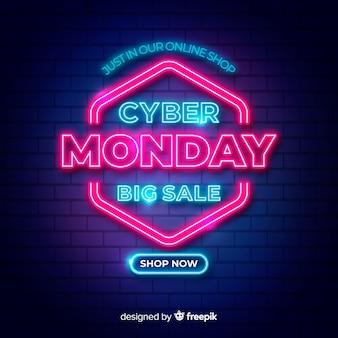 Большие продажи для cyber monday в неоновых дизайнерских огнях