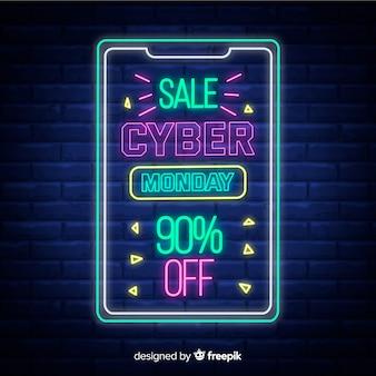 Концепция cyber monday с неоновым дизайном