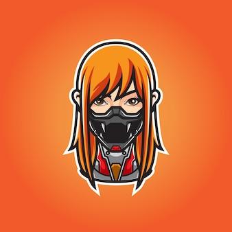 Cyber ninja girl head логотип