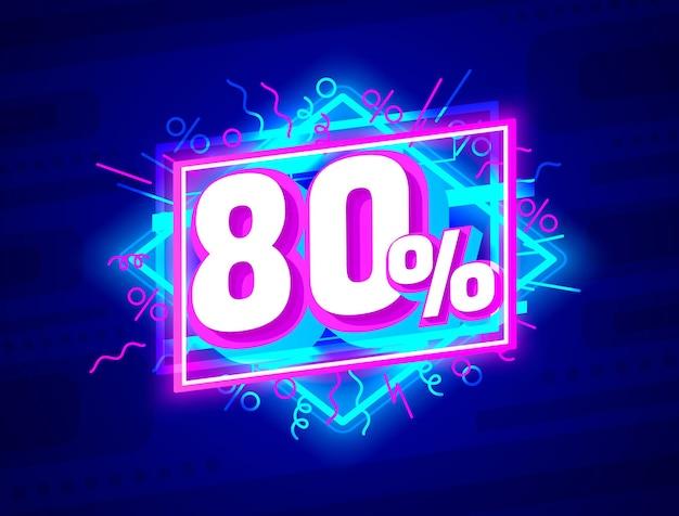 Cyber  off sale banner light neon flyer retro label vector
