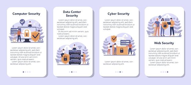 Набор баннеров мобильного приложения cyber или веб-безопасности. идея защиты и безопасности цифровых данных. современные технологии и виртуальная преступность. информация о защите в интернете. плоские векторные иллюстрации