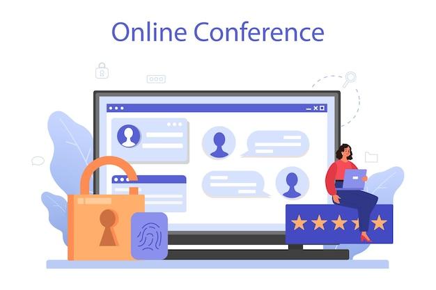사이버 또는 웹 보안 전문가 온라인 서비스 또는 플랫폼. 디지털 데이터 보호 및 안전에 대한 아이디어. 온라인 회의. 플랫 벡터 일러스트 레이션