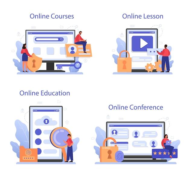 사이버 또는 웹 보안 전문가 온라인 서비스 또는 플랫폼 세트.