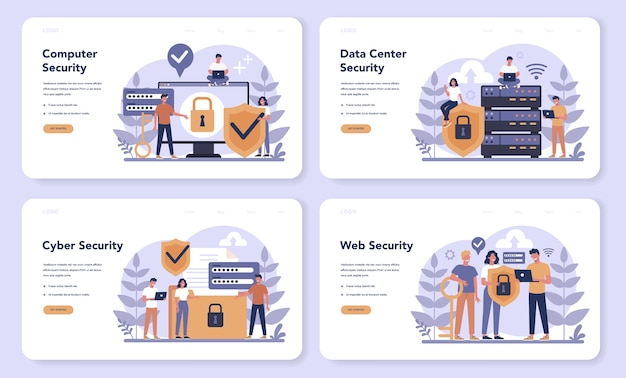 サイバーまたはwebセキュリティwebバナーまたはランディングページセット