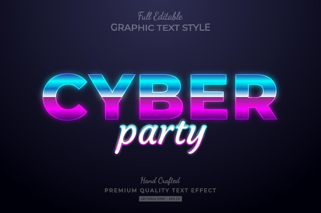 Cyber party gradient editable premium text effect font style