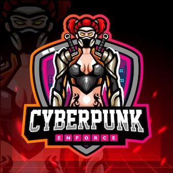 Кибер-панк-талисман. киберспорт дизайн логотипа