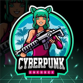 Кибер-панк-талисман. киберспорт логотип