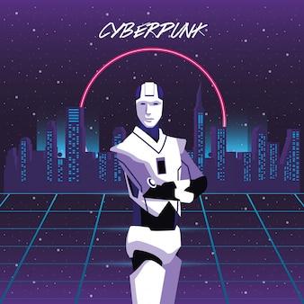 ヒューマノイドロボットとサイバーパンクポスター